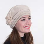 Ivory Wool Knitted Beret