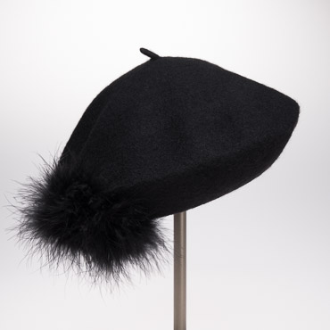 Black Feather Pompom Wool Beret Hat