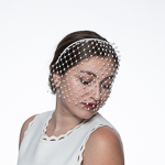 Ivory Pearl Face Veils Headband Bridal Fashion Veils