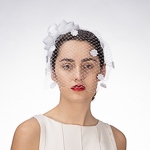 White Bow Birdcage Veils Headband  Fascinator Cocktail Hats