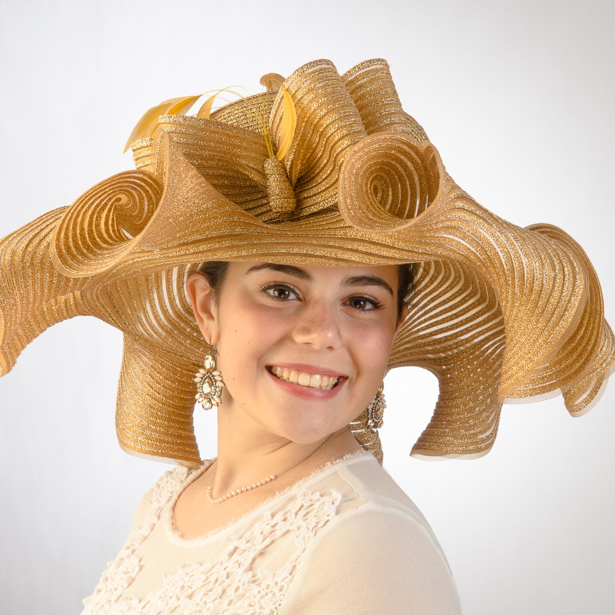 Gold Wide Ruffle Wave Brimmed Metallic Crinoline Hats-AJ426S-GD- Sun ... dcb33a64ff06