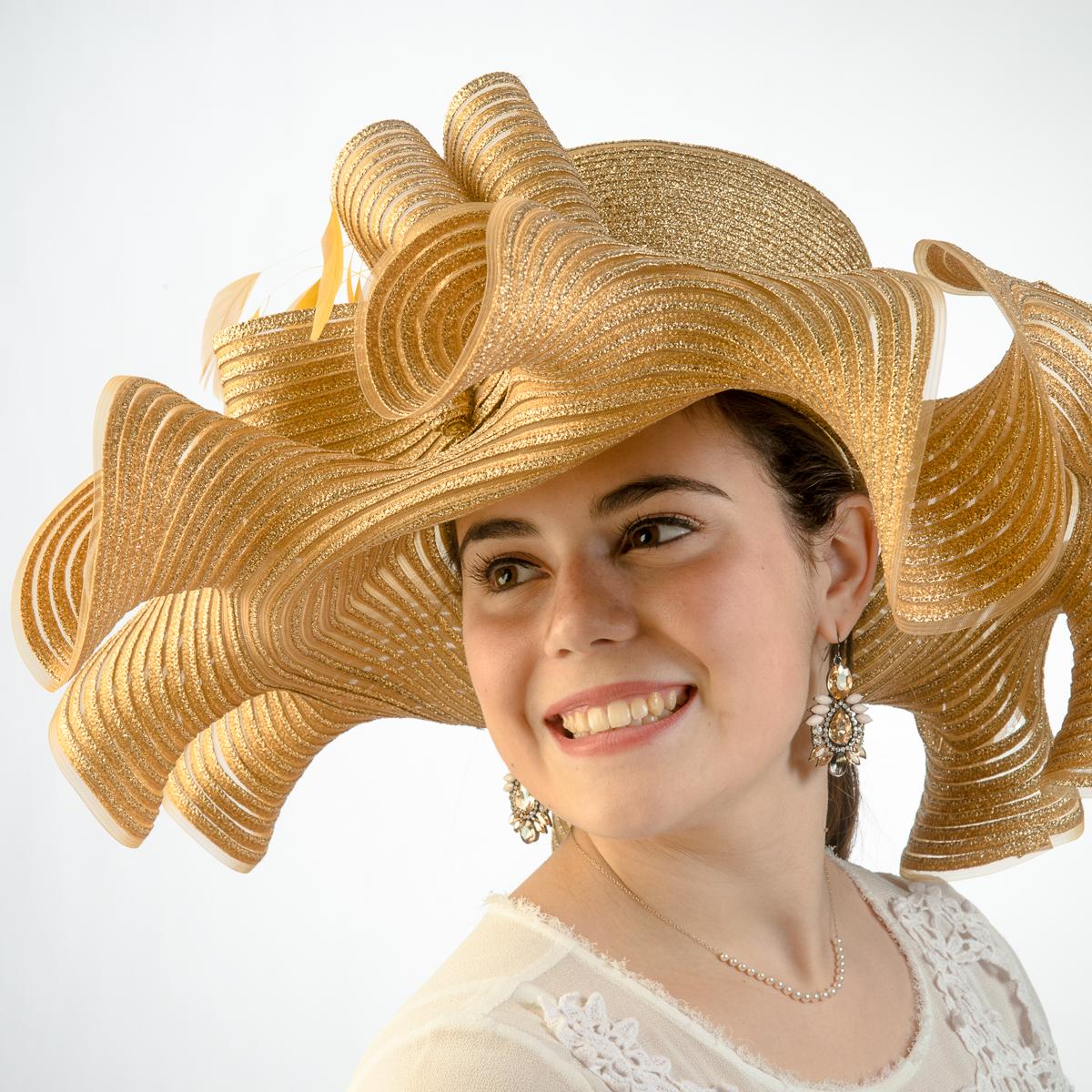 Gold Wide Ruffle Wave Brimmed Metallic Crinoline Hats-AJ426S-GD- Sun Yorkos   b58560246408