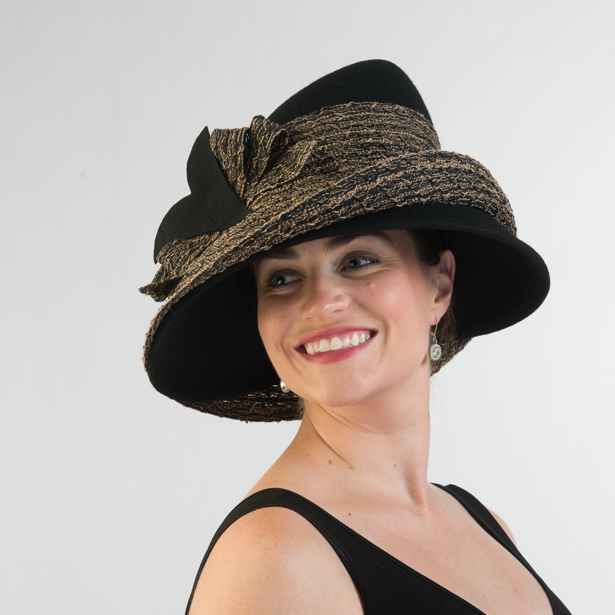 a81adc0e099 Black Tan Wool Felight Mix Braid Brim Hats Aj438f Bk Sun Yorkos