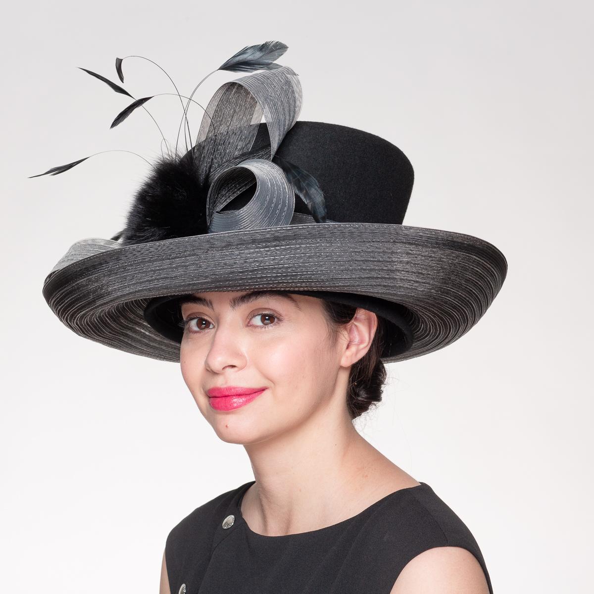 Wool Felt Crin Brim Hats-AJ440F- Sun Yorkos | KaKyCo Accessories
