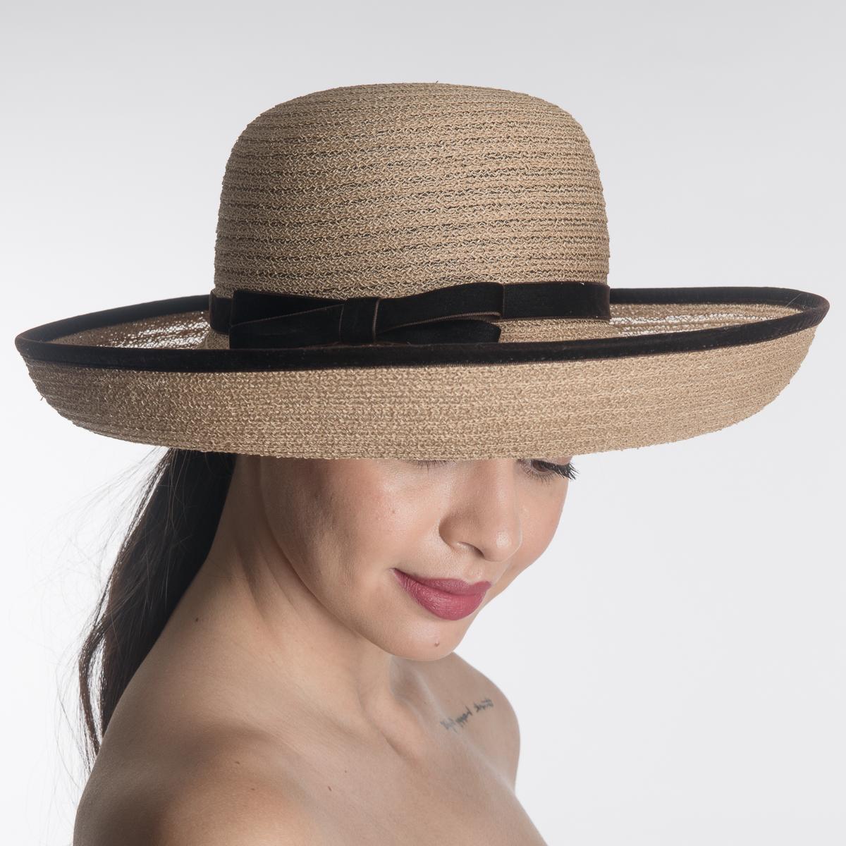 Cognac Medium Off Face Hats Viscose Crinoline Hats Aj538s
