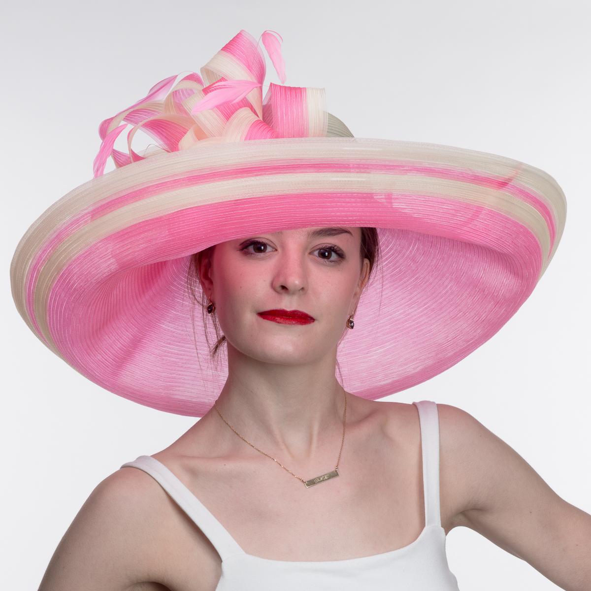 f95c1d49fee614 Pink Extra Wide Brim Fine Crinoline Large Bow Hats-AJ568S-PINK- Sun Yorkos  | KaKyCo Accessories