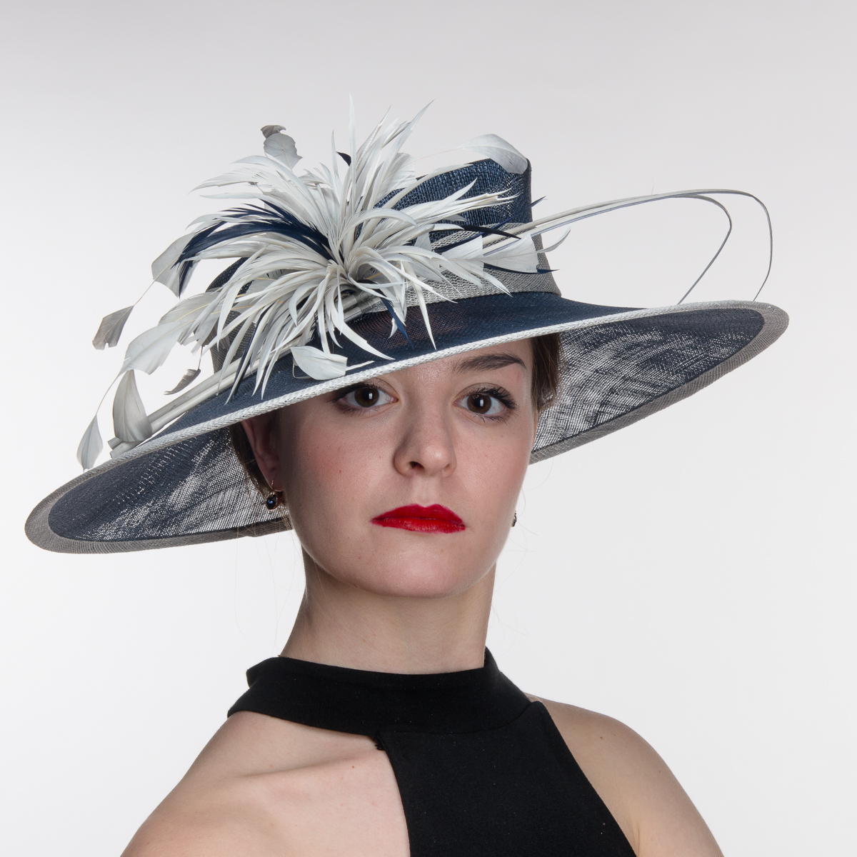 c97619d5f7f Navy Silver Feather Profile Sinamay Lampshape Hats-AJ580S-NV.SV- Sun Yorkos