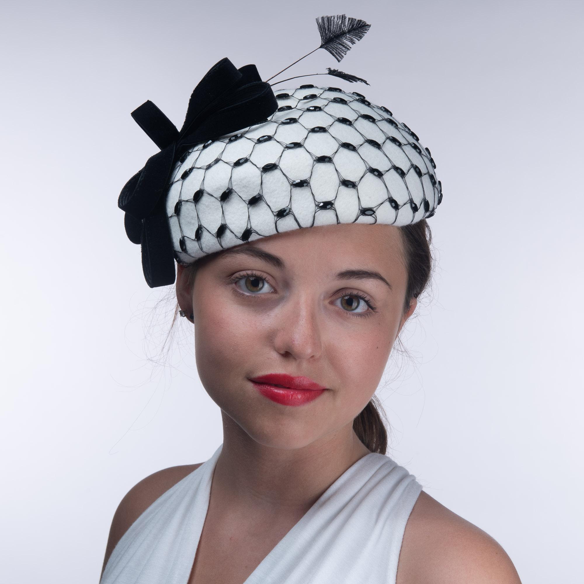 5dfeecaf3e566 Winter White And Black Rhinestone Veil Wool Felt Pillbox Hats - Sun Yorkos