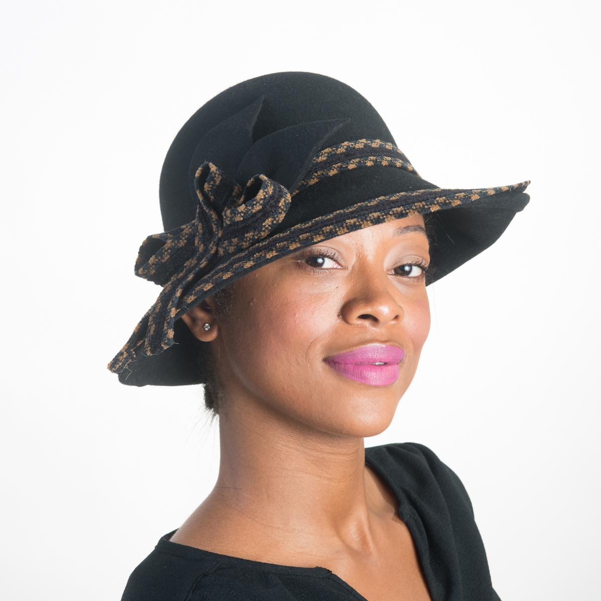 2a57db49ed6 Black Tan Wool Felt Asymmetric Upturned Womens Hats-AJ586F-BK- Sun Yorkos