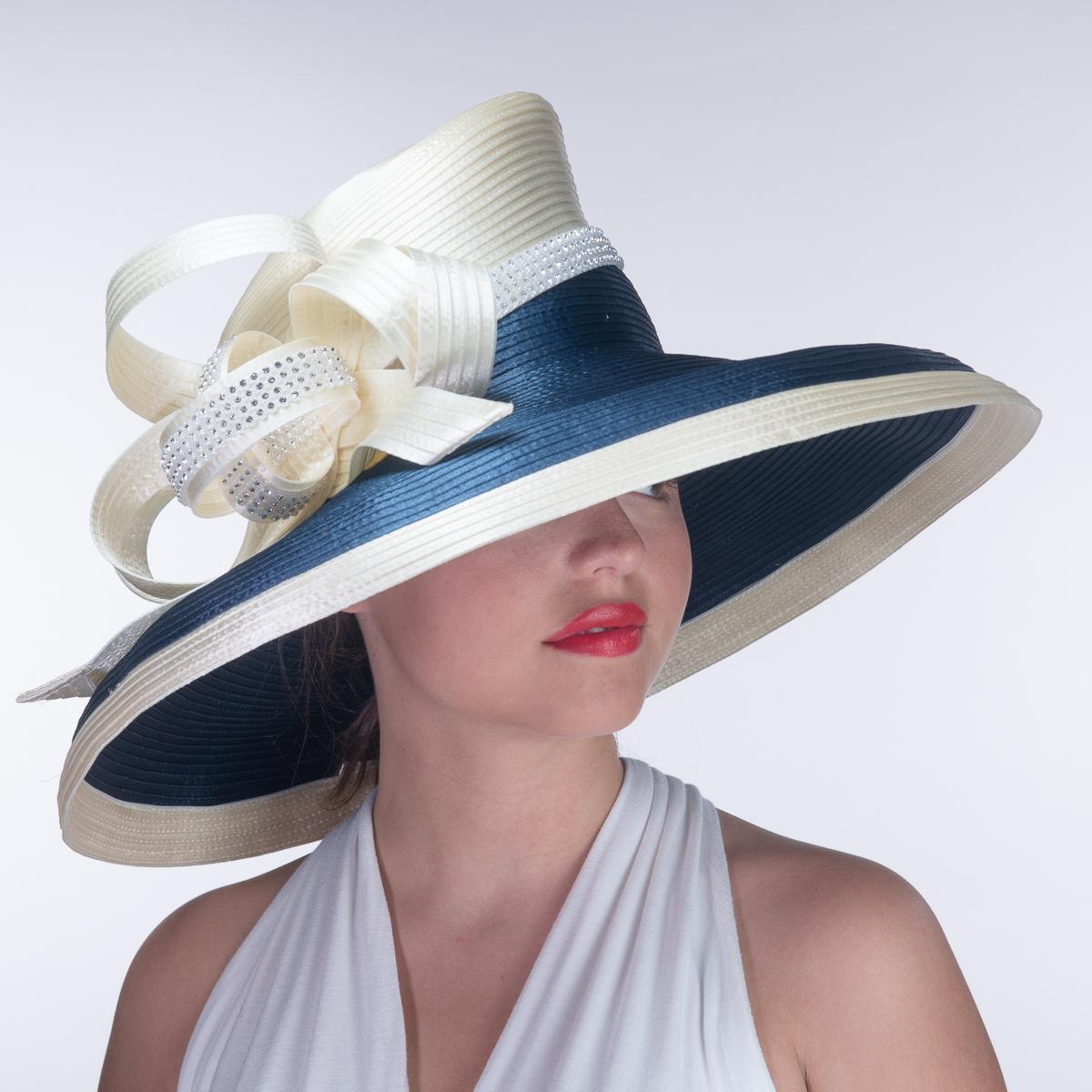 4eb0163f Off White / Navy Satin Flat Crown Wide Brim Hats-AJ590Y-OFFWT.NV ...