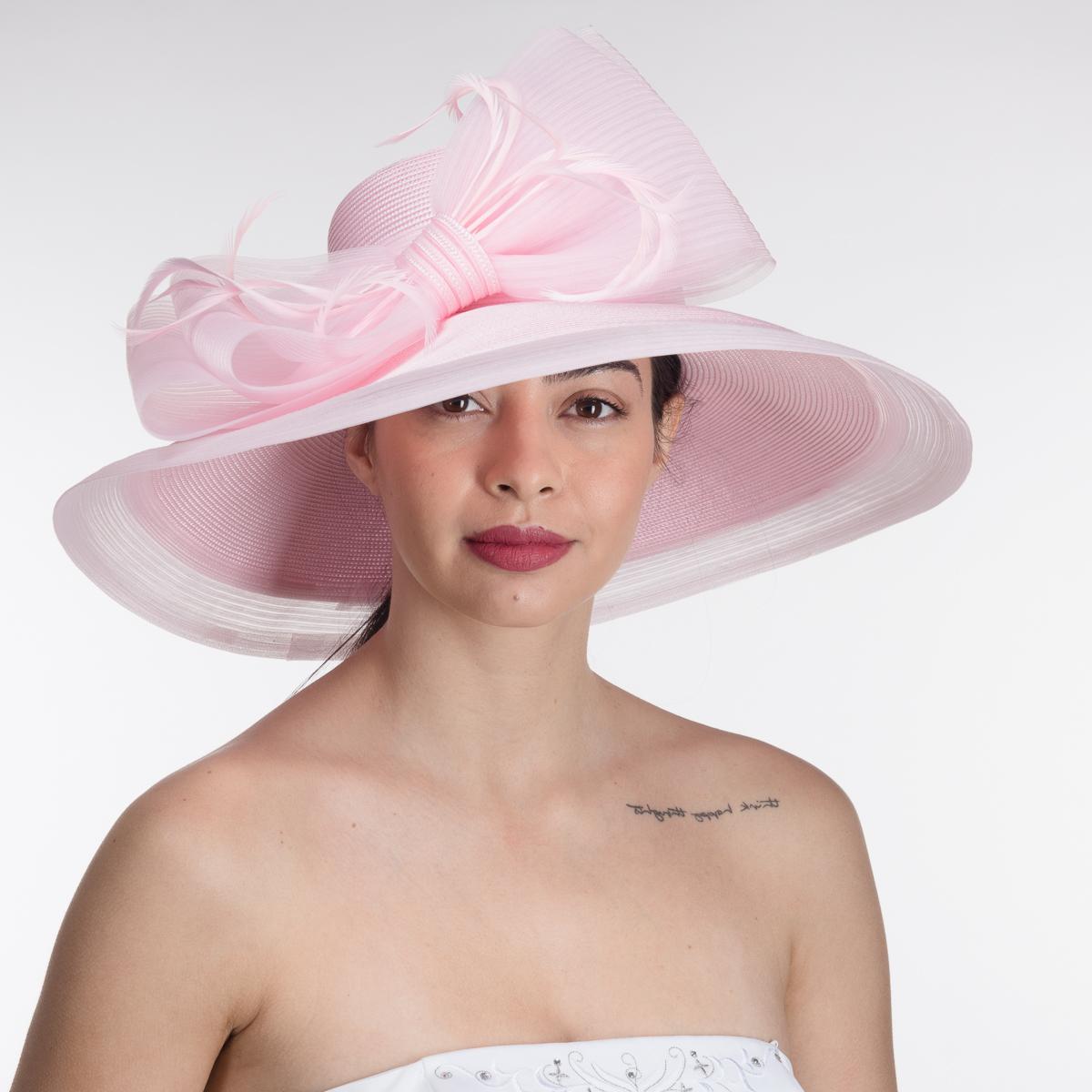 ed8a381171106 Pink Large Feather Bow Wide Brim Sun Hats-AJ594S-PK- Sun Yorkos ...