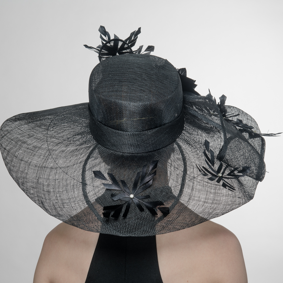 1970f7249a5 Black Embellished Feather Twist Bow Wide Brim Sinamay Hats-AJ599S-BK ...