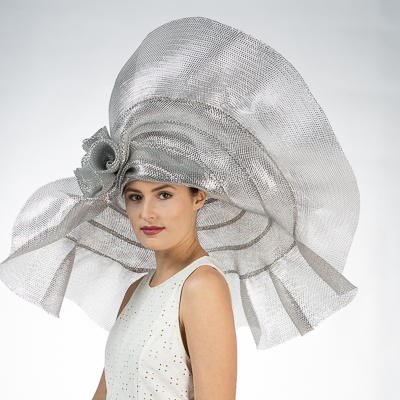 Wide Ruffled Rose Decor Wide Metallic Women's Hats