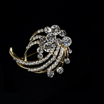 Crystal Clear Rhinestone Whirlpool Galaxy Gold Tone Brooch