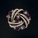 Grape / Purple Rhinestone Trinity Gold Tone Brooch