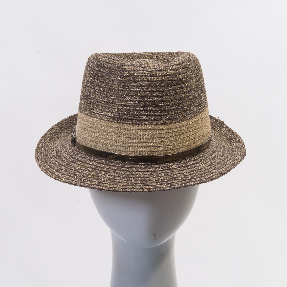 83e4ad6844a1 Brown /Beige Gold Metallic Leather Band Cotton Blend Fedora Hats-FI1608-BN.  GD- Sun Yorkos   KaKyCo Accessories