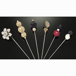 6 Pieces 5'' Assorted Colors Beads Hat Pin Set