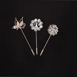 3 Pieces 2 5'' Clear Crystal Hat Pin Set