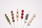 6 Pieces 7'' Assorted Colors Beads Hat Pin Set