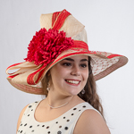 Large Veil Brimmed Flower Bow Sinamay Hats