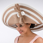 Cognac/White Large 2Tone Off Face Poly Straw Hats