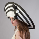 White/Black Large 2Tone Off Face Poly Straw Hats