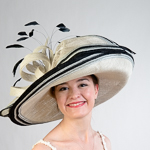 Large Profile Feather Bow Sinamay Hats