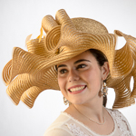 Wide Ruffle Wave Brimmed Metallic Crinoline Hats
