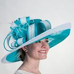 01652e366cc05 Turq White Large Sinamay Hemp Hats