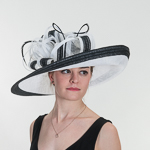 b739e41a3dcdd White Black Large Sinamay Hemp Hats