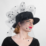 Black Luxurious Flower Bow Veil Wool Felt Boater Hats f5a762768672