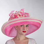Extra Wide Brim Fine Crinoline Large Bow Hats