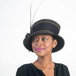 Black / Tan Fancy Feather Bow Wool Felt Hats