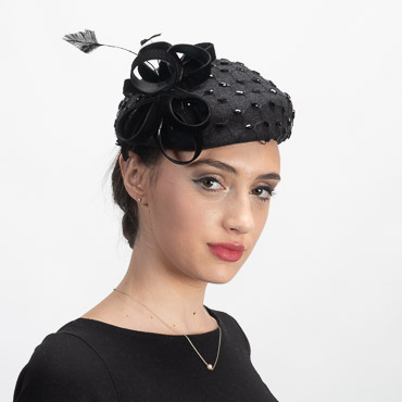Charcoal Black Wool Felt Veil Pillbox Cocktail Hats