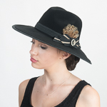 Black Cool Wool Felt Fedora Feather