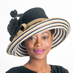 Black White Gold Metallic Wool Felt Upturned Brim Hats