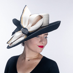 Ivory Black Asymmetrical Wool Felt Satin Church Hats