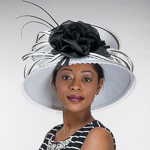 White Pleated edges Black Flower Medium Brim Sun Hats