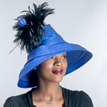 Satin Metallic Down Brim Feather Trim Wool Felt Hats