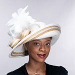 Metallic Feather Trim Medium Brim Wool Felt Hats