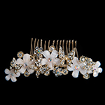 Gold Rhinestone Butterfly And Flower Hair Comb