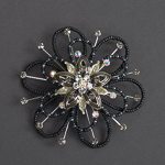 Black Beads 3.5'' Star Flower Brooches