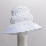 Off White / White Edge Bee Hive Shape Lace Satin Ribbon Hats