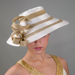 Ivory / Gold  Satin Metallic Hats
