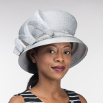 Silver Metallic Satin Brim Rhinestone Band Hats