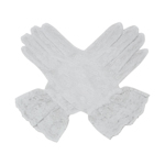 White 10'' Wrist Length Lace Gloves