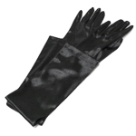 Black 22'' Long Satin Gloves