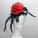 Black Sinamay Veil Feather with Red Rose Headband Fascinator Cocktail Hats